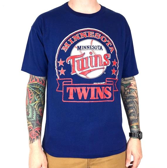 Vintage 80s 1988 88 MLB Minnesota Twins Artex single stitch Made in USA navy blue baseball graphic tee t-shirt shirt - Size L