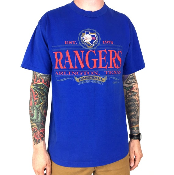 Vintage 90s 1992 92 MLB Texas Rangers Trench MFG blue single stitch baseball graphic tee t-shirt shirt - Size L