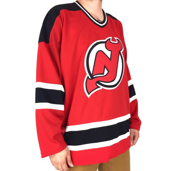 Deadstock Nwt Vintage 90s CCM NHL New Jersey Devils stitched sewn two tone hockey jersey - Size XXL