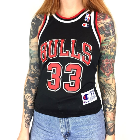 Vintage 90s Champion NBA Chicago Bulls Scottie Pippen #33 black basketball jersey - Size Youth S 8