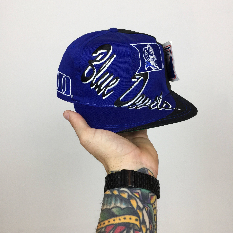 Deadstock Vintage 90s Duke University Blue Devils Logo 7 college football  snapback hat 3307afa7320