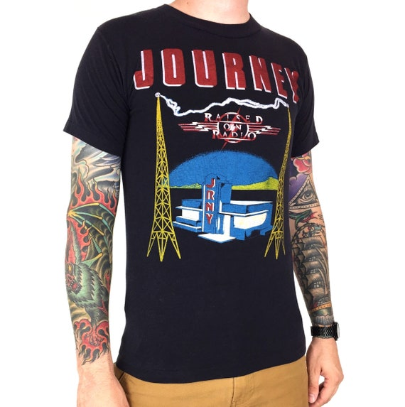 Rare Vintage 80s 1986 86 Journey Raised on Radio Tour single stitch double sided graphic band concert tee t-shirt shirt - Size S