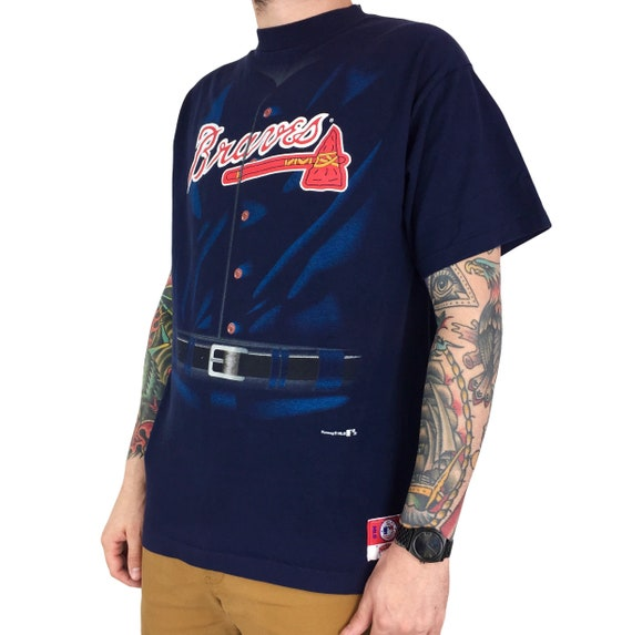 Vintage 90s MLB Atlanta Braves Nutmeg Mills single stitch Made in USA navy blue baseball graphic tee t-shirt shirt - Size XL