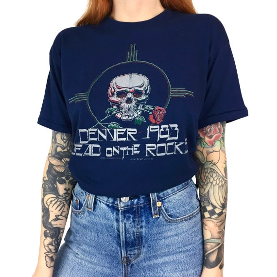 RARE Vintage 80s 1983 83 Grateful Dead Denver Dead on the Rocks Red Rocks Amphitheater band tour graphic tee t-shirt shirt - Size XS-S