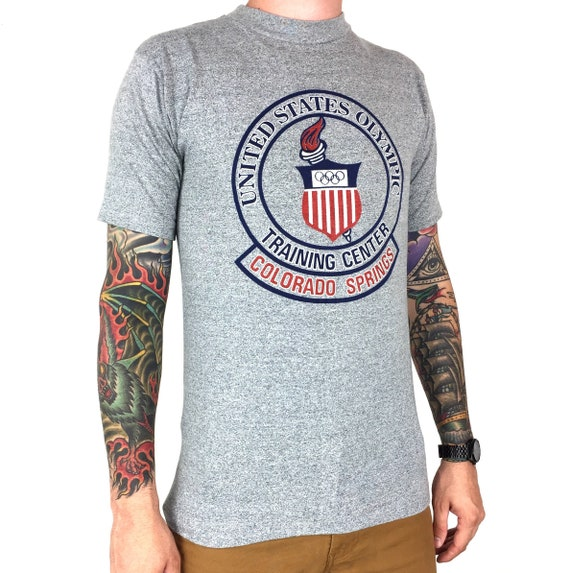 Vintage 80s United States US Olympic Training Center Colorado Springs heather grey single stitch graphic tee t-shirt shirt - Size S-M