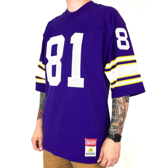 Rare Vintage 80s Sand Knit NFL Minnesota Vikings Anthony Carter #81 purple Made in USA football jersey - Size M-L