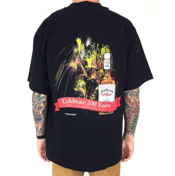 Vintage 90s 1995 95 Jim Beam 200 Years Bourbon Whiskey single stitch promo promotional graphic tee t-shirt shirt - Size XL