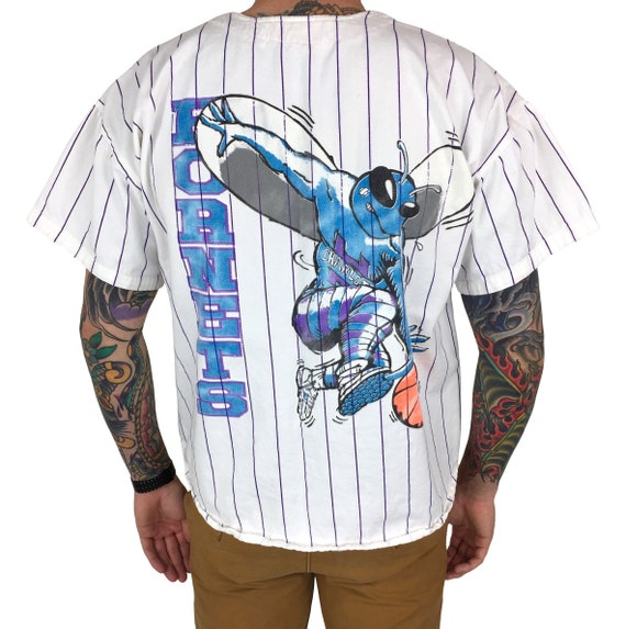 Vintage 90s NBA Charlotte Hornets Made in USA pinstripe button up cotton baseball jersey tee t-shirt shirt - Size L