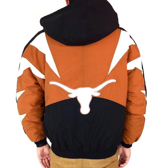 Rare Deadstock Vintage 90s Apex One NCAA University of Texas Longhorns colorblock zip up puffer parka winter jacket coat - Size M