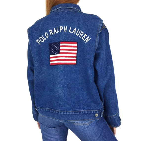 Rare Vintage 90s Polo Ralph Lauren Big American Flag embroidered patch blue jean denim jacket - Size S