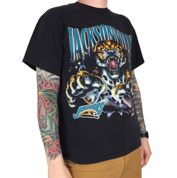 Vintage 90s 1993 93 NFL Jacksonville Jaguars Nutmeg Mills cut through single stitch football graphic tee t-shirt shirt - Size M