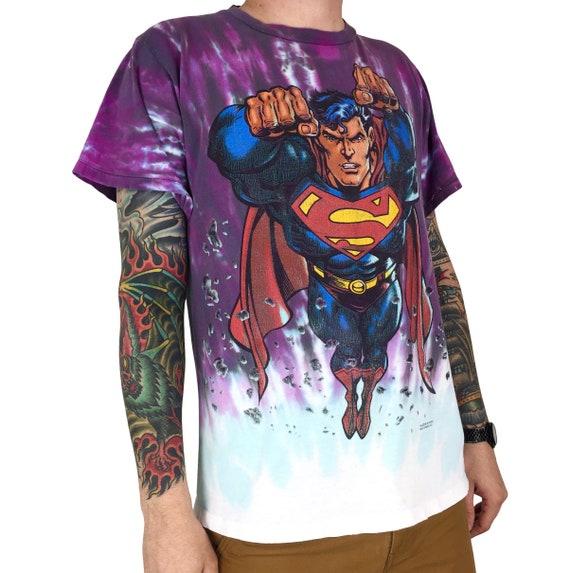 Vintage 90s 1997 97 DC Comics Superman TV movie promo promotional tie dye single stitch graphic tee t-shirt shirt - Size L