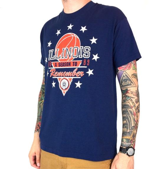 Vintage 80s 1989 89 NCAA University of Illinois Fighting Illini college basketball college graphic tee t-shirt shirt - Size M