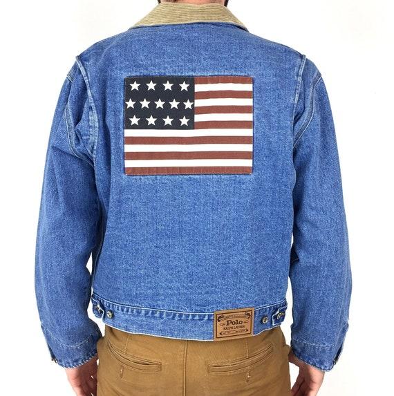 Rare Vintage 90s Polo Ralph Lauren Big American Flag contrast collar Authentic Dungarees blue jean denim jacket - Size S-M