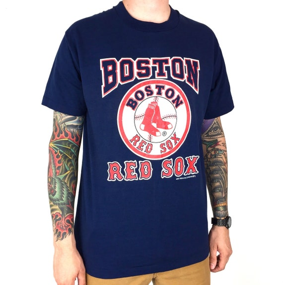 Vintage 80s 1988 88 MLB Boston Red Sox Velva Sheen single stitch Made in USA navy blue baseball graphic tee t-shirt shirt - Size L