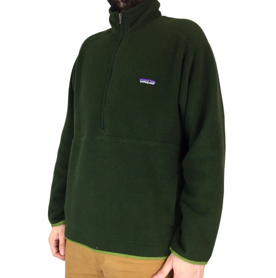 Vintage Patagonia Synchilla forest green pullover half zip fleece sweater jacket - Size L