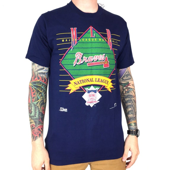 Deadstock NWT Vintage 90s 1992 92 MLB Atlanta Braves Made in USA Salem Sportswear baseball graphic tee t-shirt shirt - Size M