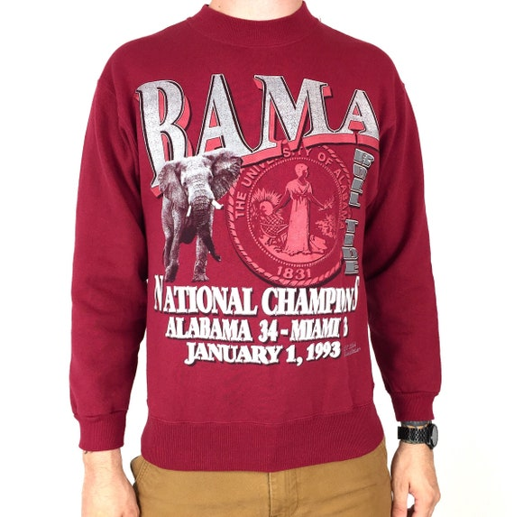 Deadstock Vintage 90s 1993 93 NCAA University of Alabama Crimson Roll Tide college football pullover crewneck graphic sweatshirt - Size S