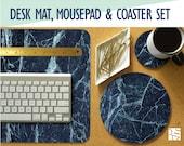 Blue Marble Print Desk Mat, Mouse Pad Coaster Set -Desk Accessory Set