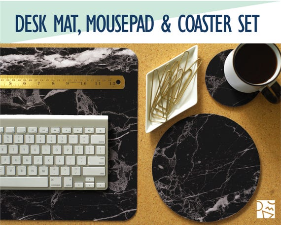 Black handmade real leather desk pad mat blotter ebay