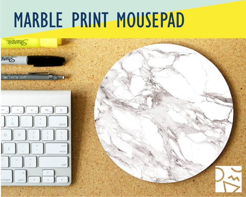White Marble Print Round Mouse Pad w/ Custom Monogram  Office image 0