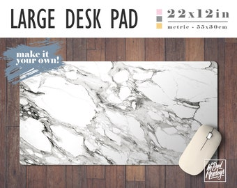 White Marble Print Desk Mat with Available Custom Monogram - 2 Sizes - High Quality Digital Print, Extended Mouse Pad - Desk Accessory