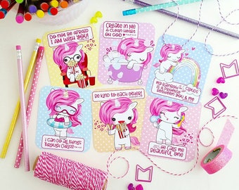 encouragement cards / set of 6 bible journaling cards for little girls pink unicorns