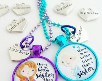 big sister little sister necklace set little girls Disney princess inspired jewlery gift for little girl best friend necklace