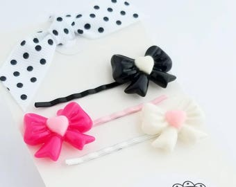 pretty bow hair pins set of two for little girls hair accessories bobby pins