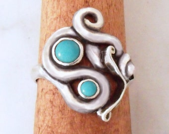 "Silver ring with Turquoise ""Air Dragon 2"""