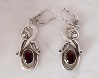 "Silver earrings with garnet ""air dragon 1"""