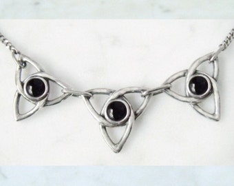 """Silver necklace with Onyx """"Triskelion"""""""
