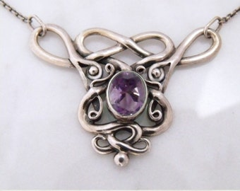 "Silver necklace with Amethyst ""Air Dragon 1"""