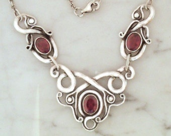 """Silver necklace with garnet """"air Dragon 3"""""""