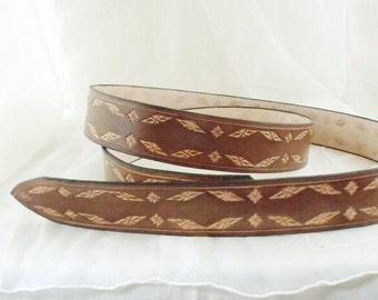 Leather Belt medium brown, 4 cm, tooled 2