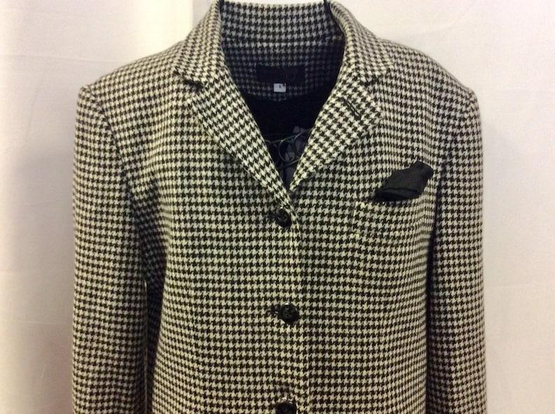 1980 tweed wool Blazer  Vintage Pied-de-poule Vest  Classic Tweed Jacket