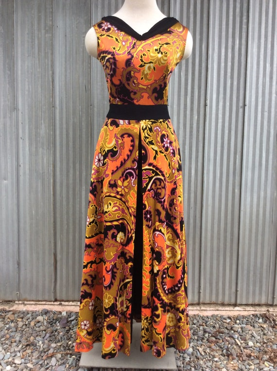 1970 vintage palazzo trousers dress / maxi psycha… - image 2