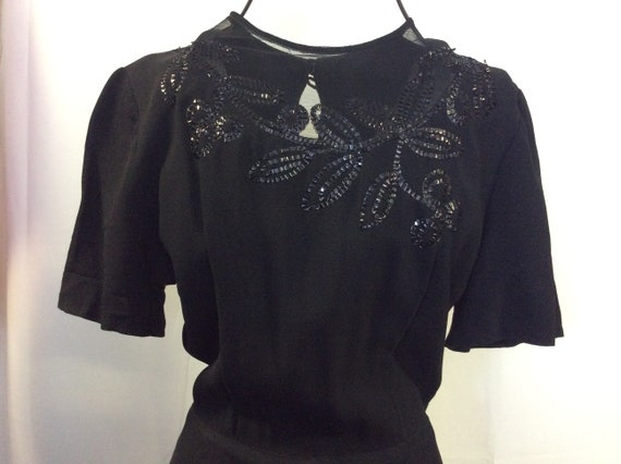 1930 Flapper dress / Elegant black dress with pear