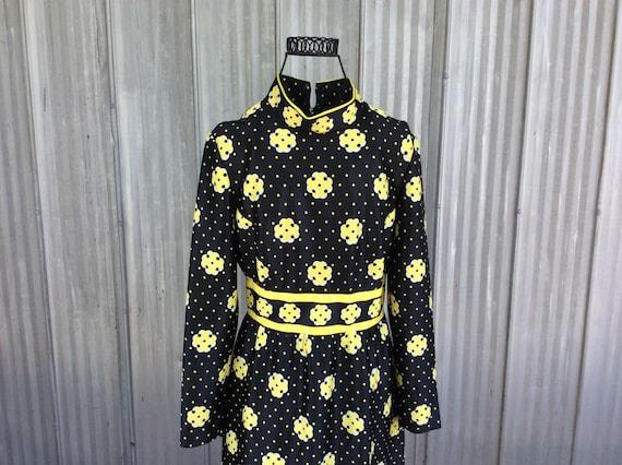 1970 MOD psychadelic dress - hippie chic geometric