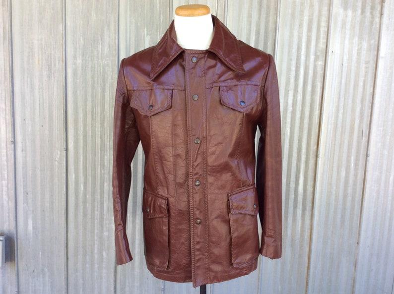 Manteau Cuir Pour Homme Vintage Groovy Blouson 1970 Mods De gy67bf