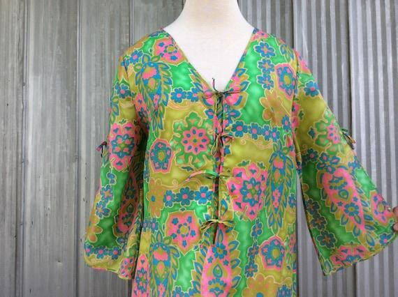 1970 Vintage maxi interior dress - Long  Bathrobe