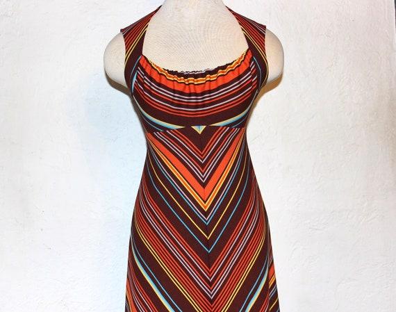 1970 Psychadelic dress / Vintage geometric print m