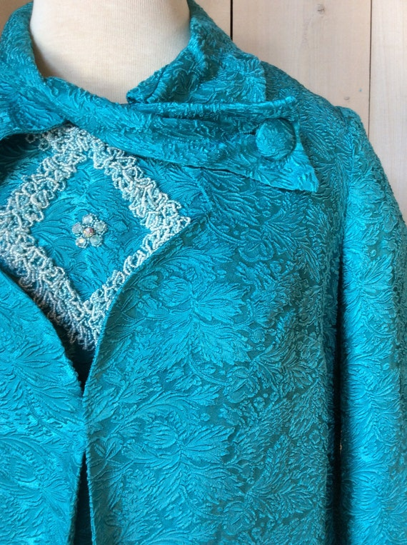 Vintage evening dress from the 1950's - blue turqu