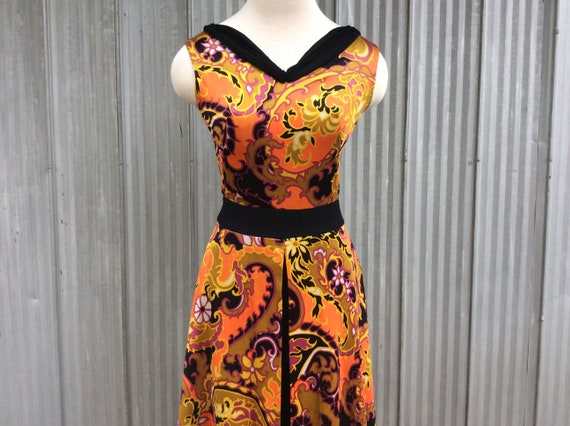 1970 vintage palazzo trousers dress / maxi psycha… - image 1