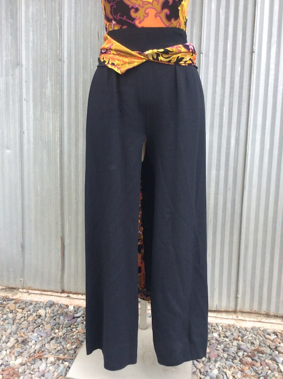 1970 vintage palazzo trousers dress / maxi psycha… - image 3