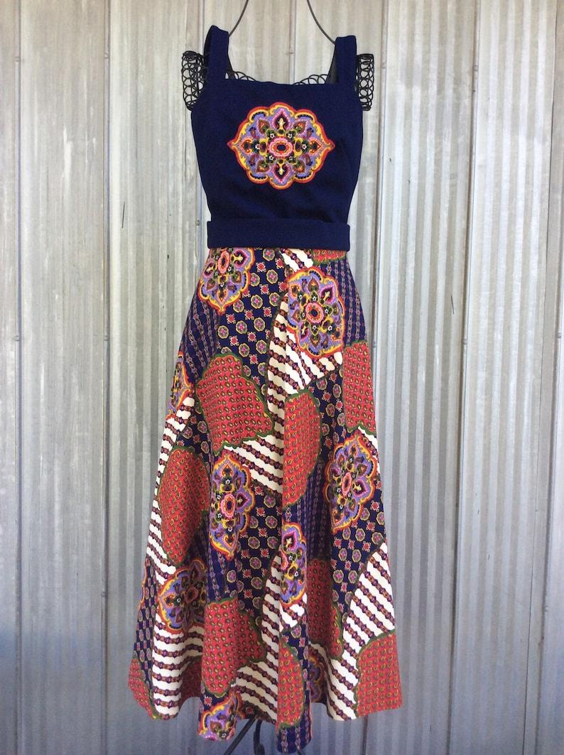 1970 Rogers Fr\u00e8res Paris dress  Vintage dress and bolero  Funky psychadelic long dress  hippy chic style patchwork