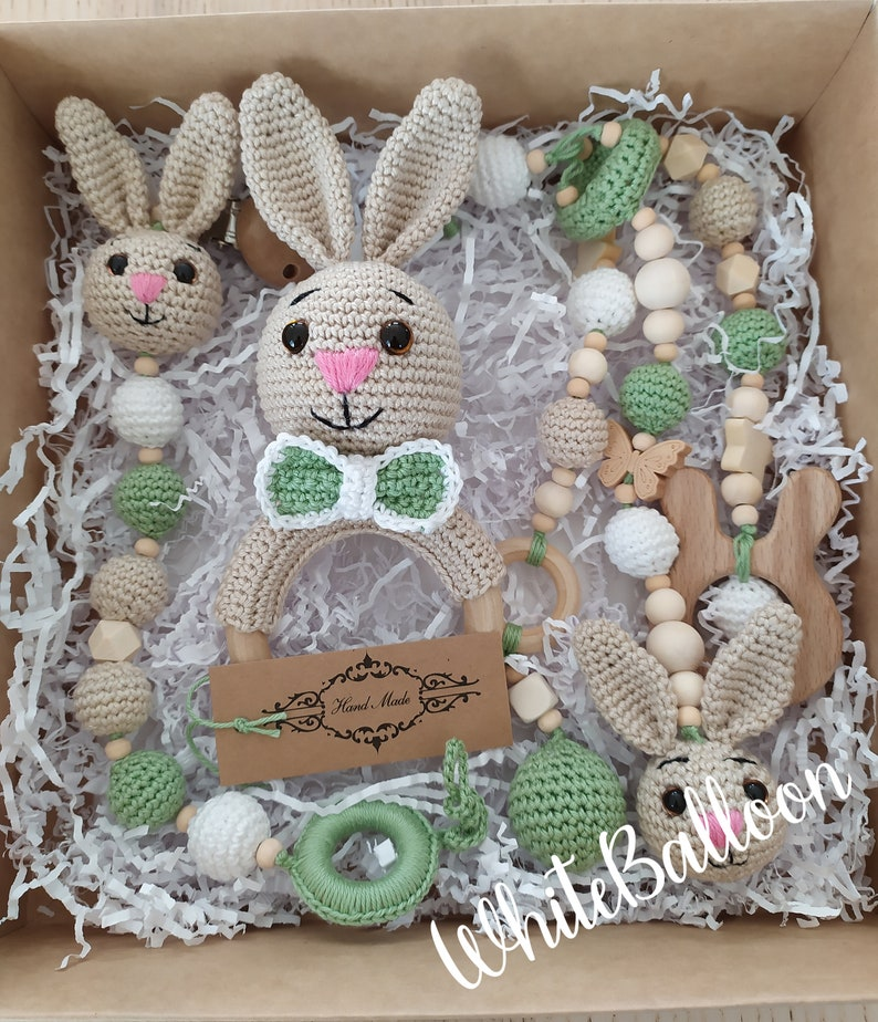 First gift set Rattle with bunny Stroller accessories Pacifier holder Baby boy gift set Pram accessories coworker baby gift