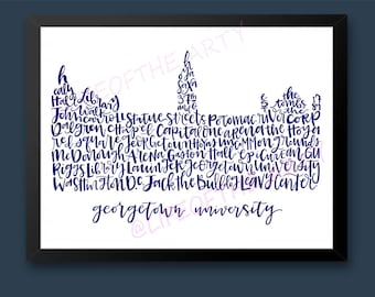 b25cce30934fd Hand-Drawn Navy Georgetown University Healy Hall - Customizable