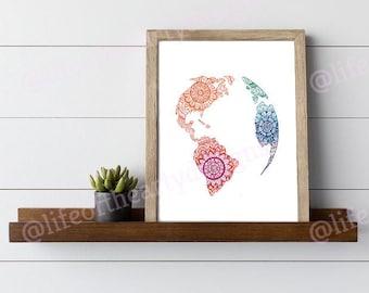 Hand-Drawn Globe Silhouette Print - Wall Art