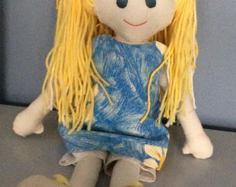 Hand Made Hand Stitched Rag Doll Camille